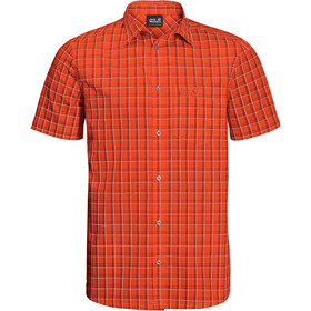 Jack Wolfskin Hot Springs Shirt Korte Mouwen Heren, saffron orange checks